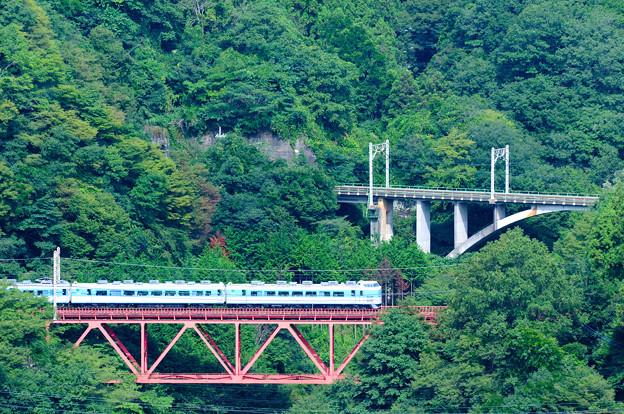 中央線四方津の大呼戸橋梁を渡る189系ホリデー快速富士山号