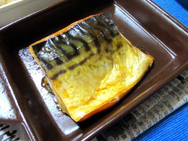 耐熱皿で塩鯖…