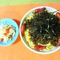 ソーセージと高菜のスパゲッティ・・・