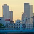 写真: 御陵橋(堀川)の上から見た、夕暮れ時の名駅ビル群 - 4