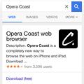Photos: iOS版Safariで『Opera Coast』と検索 - 1