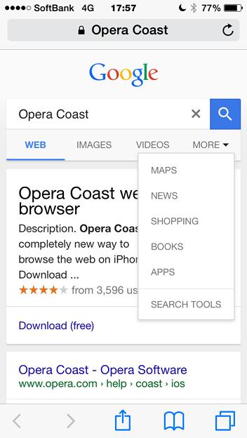 Photos: iOS版Safariで『Opera Coast』と検索 - 2(『More』)