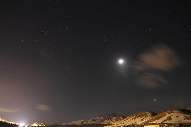 毎日暑いので涼しい画像をお届けします、雪をかぶる地球   オリオン座   すばる   月   ビーナス   !皆様暑中見舞い申し上げます!!