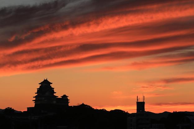 京口駅からの姫路城夕焼け