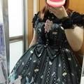 写真: 今日のお出かけで着た服。メタモのおめかしラビットのシャーリングJSKコーデヽ(・∀・)ノ この前はピンクのサロペットだったけど、黒のうさぎも可愛い(°▽°)
