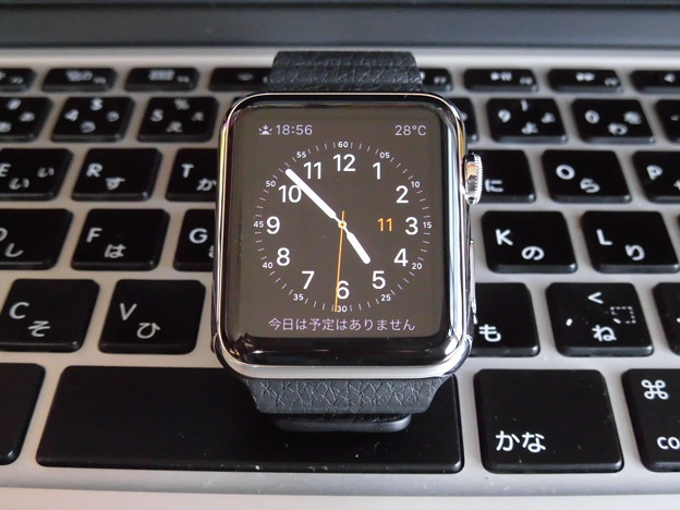 Apple Watch 42mmステンレススチールケース ブラックレザーループ