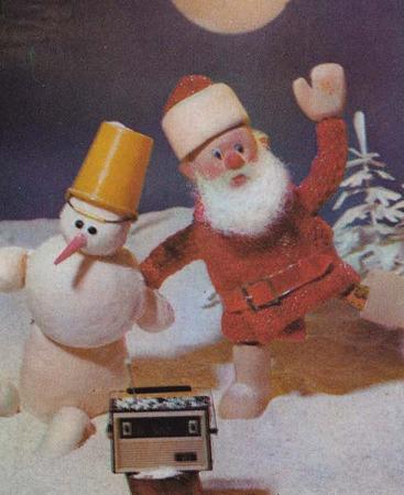 サンタさん、ゆきだるまとご機嫌!拡大