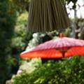 写真: 赤い傘と鐘の綱20150912
