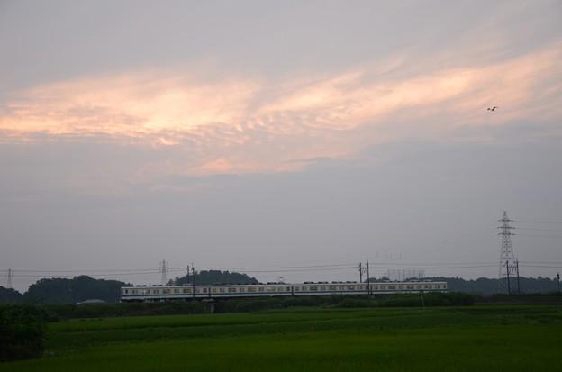 黄昏の梅雨空と東武宇都宮線