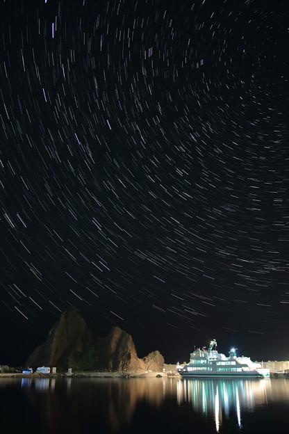ウトロ港の星景