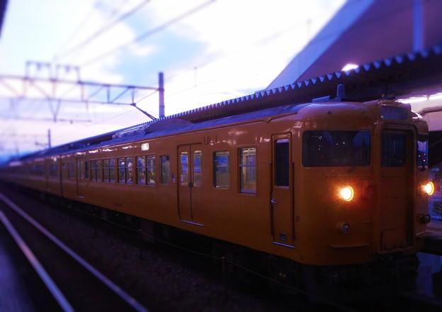 朝ぼらけの 秋分列車が到着したよ。