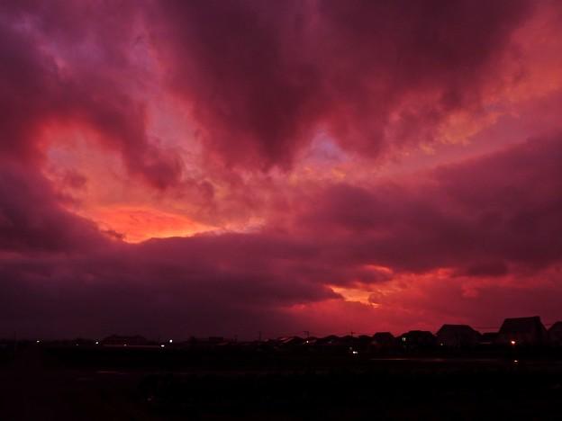 台風通過後の夕焼け