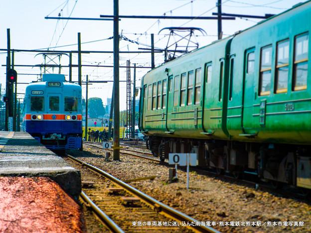 東急の車両基地に迷い込んだ南海電車。
