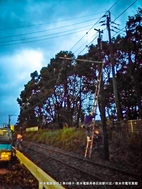 熊本電鉄復旧工事の様子。
