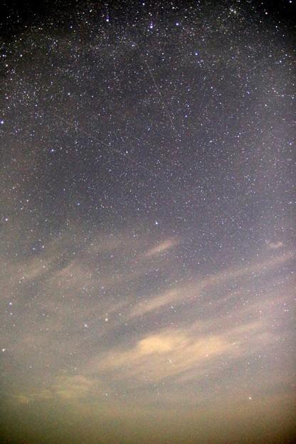 流星と北極星とカシオペア