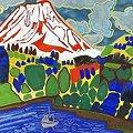 写真: 片岡珠子『若さぎつり舟のある富士』