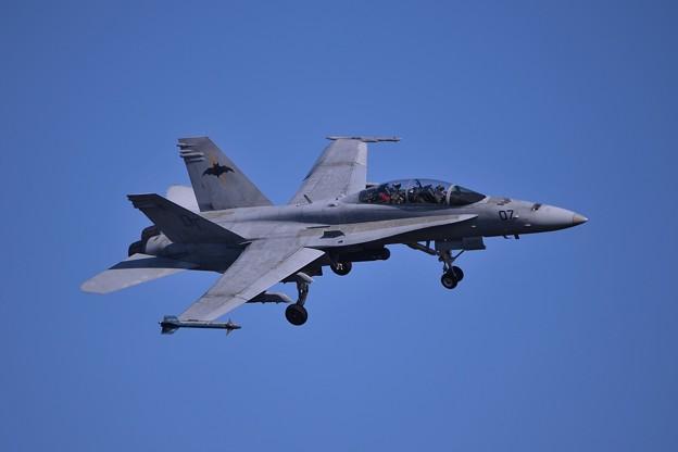 Photos: 厚木基地R/W19へランディング・・いいひねりでVMFA-242BATS07 F/A-18D・・20141122