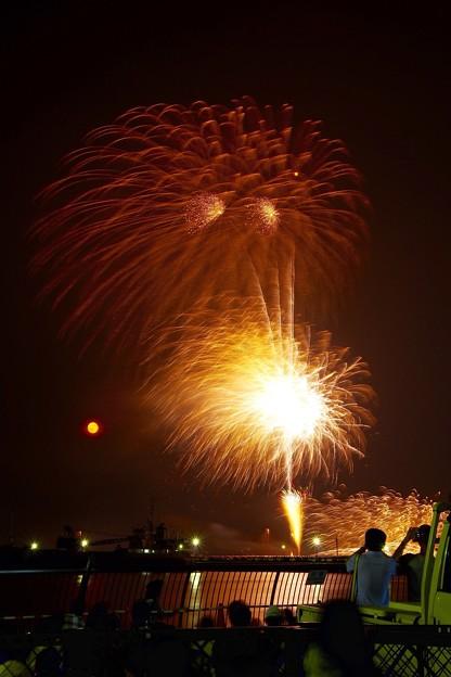 よこすか開港祭花火 ブルームーンのあけの月夜と?。。8月1日