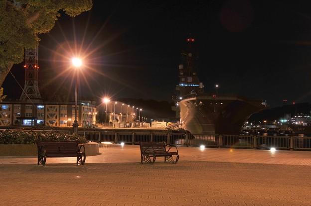 ある日の夜の横須賀基地 静寂なヴェルニー公園とひゅうが・・20141223