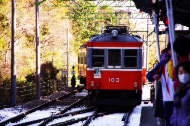 箱根駅伝の応援終えて雪残る箱根登山鉄道で・・20150102