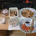 写真: 刺身+カボチャ+鮭=ゴチャゴチャ