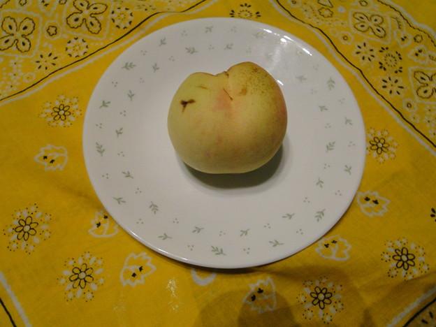 写真: 我が家の庭で桃が熟れた