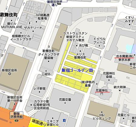 「ゴールデン街 地図」の画像検索結果